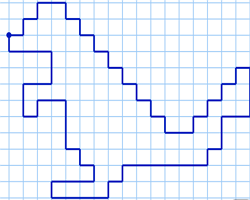 Графический диктант Динозавр по клеточкам
